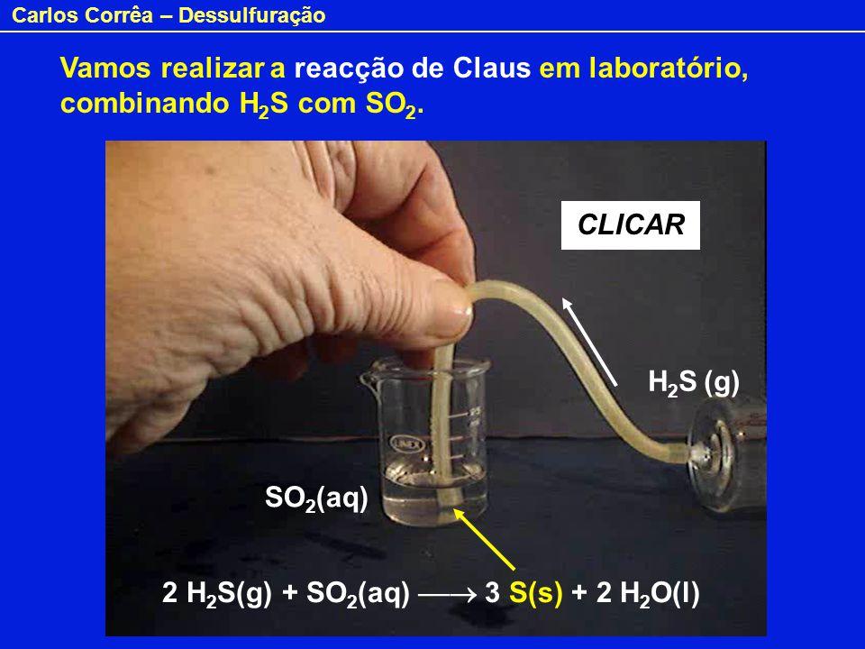 Carlos Corrêa – Dessulfuração SO 2 (aq) H 2 S (g) CLICAR Vamos realizar a reacção de Claus em laboratório, combinando H 2 S com SO 2. 2 H 2 S(g) + SO