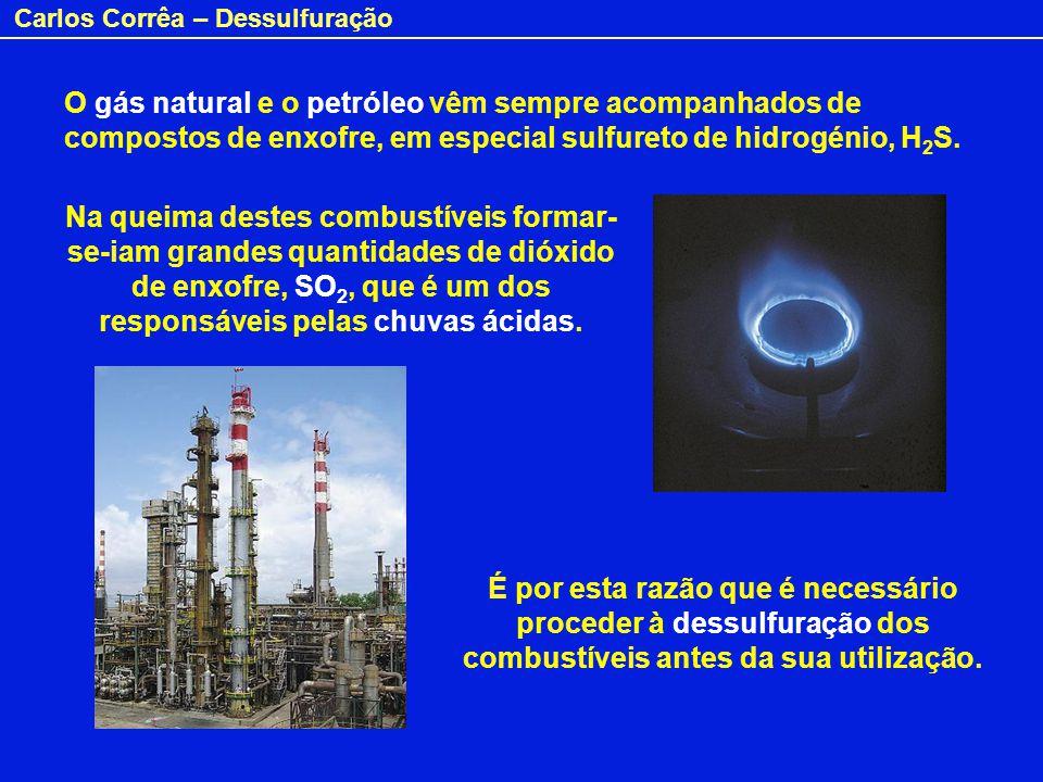 Carlos Corrêa – Dessulfuração O sulfureto de hidrogénio é extraído dos combustíveis por uma solução aquosa de 2-aminoetanol (conhecido por etanolamina): H 2 S(g) + NH 2 -CH 2 -CH 2 OH (aq) HS¯ NH 3 -CH 2 -CH 2 OH(aq) + HS¯ NH 3 -CH 2 -CH 2 OH(aq) NH 2 -CH 2 -CH 2 OH (aq) + H 2 S(g) + Por aquecimento, liberta-se o H 2 S: Calor Base H+H+ 2-Aminoetanol Vejamos como se faz a extracção com etanolamina: