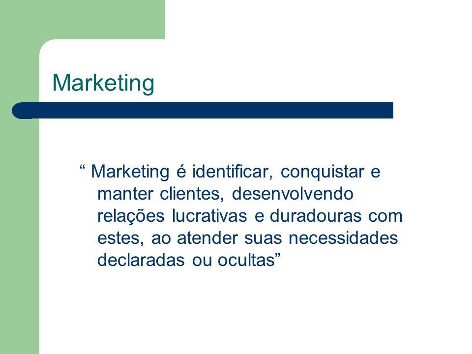 Marketing Marketing é identificar, conquistar e manter clientes, desenvolvendo relações lucrativas e duradouras com estes, ao atender suas necessidades declaradas ou ocultas