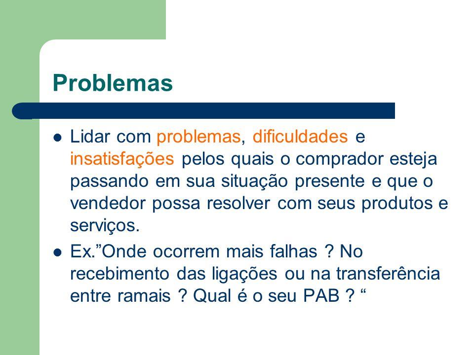 Problemas Lidar com problemas, dificuldades e insatisfações pelos quais o comprador esteja passando em sua situação presente e que o vendedor possa resolver com seus produtos e serviços.