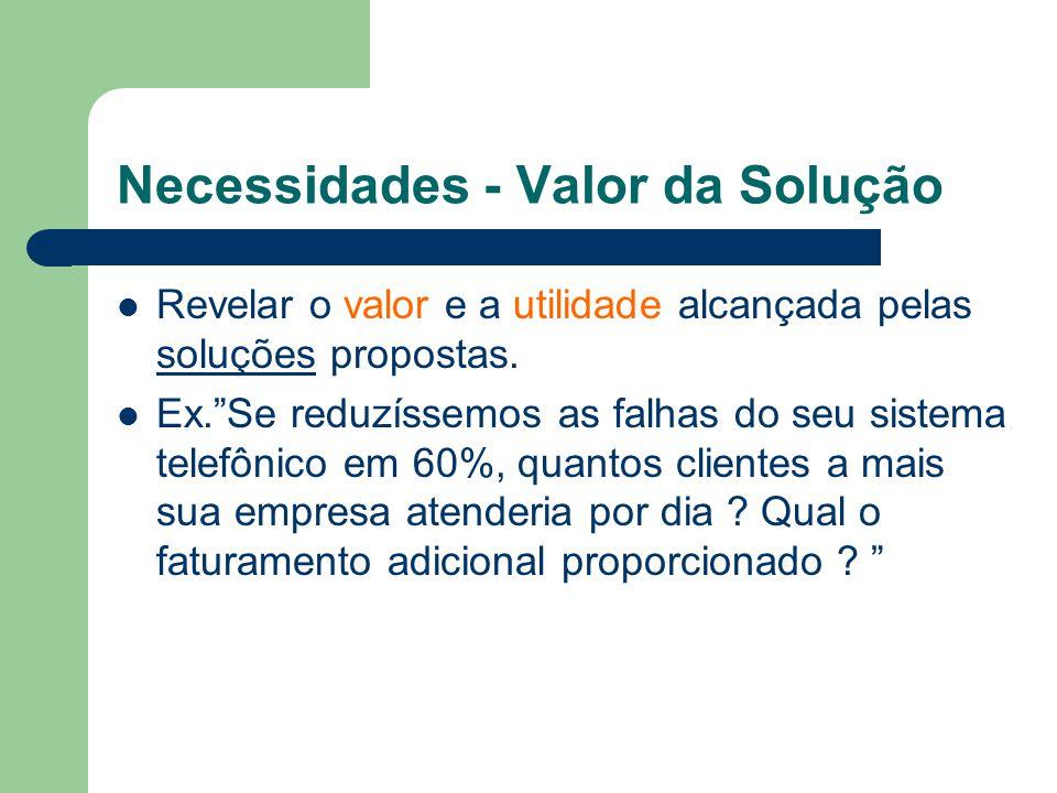 Necessidades - Valor da Solução Revelar o valor e a utilidade alcançada pelas soluções propostas.