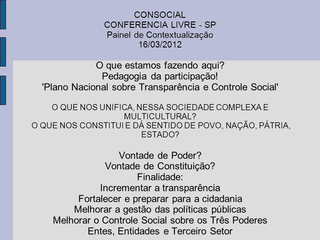 CONSOCIAL CONFERENCIA LIVRE - SP Painel de Contextualização 16/03/2012 O que estamos fazendo aqui? Pedagogia da participação! 'Plano Nacional sobre Tr