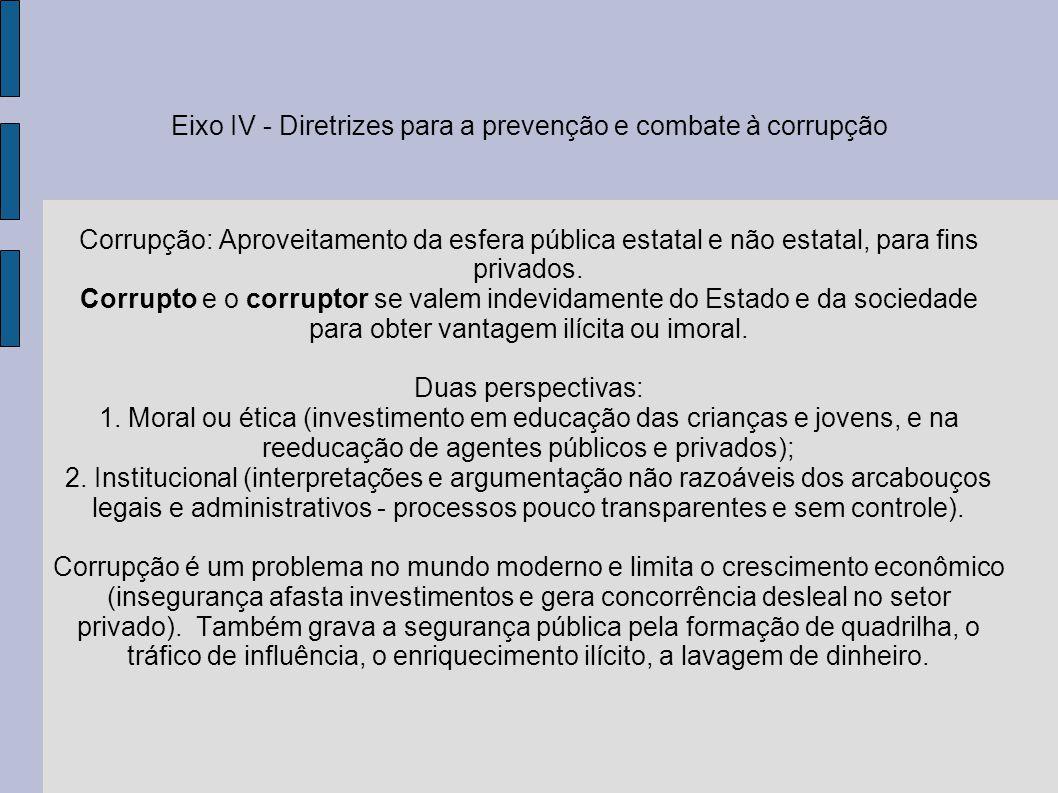 Eixo IV - Diretrizes para a prevenção e combate à corrupção Corrupção: Aproveitamento da esfera pública estatal e não estatal, para fins privados. Cor