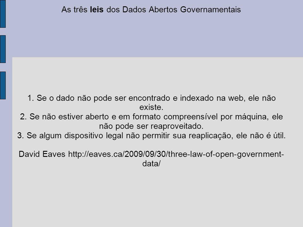 As três leis dos Dados Abertos Governamentais 1. Se o dado não pode ser encontrado e indexado na web, ele não existe. 2. Se não estiver aberto e em fo