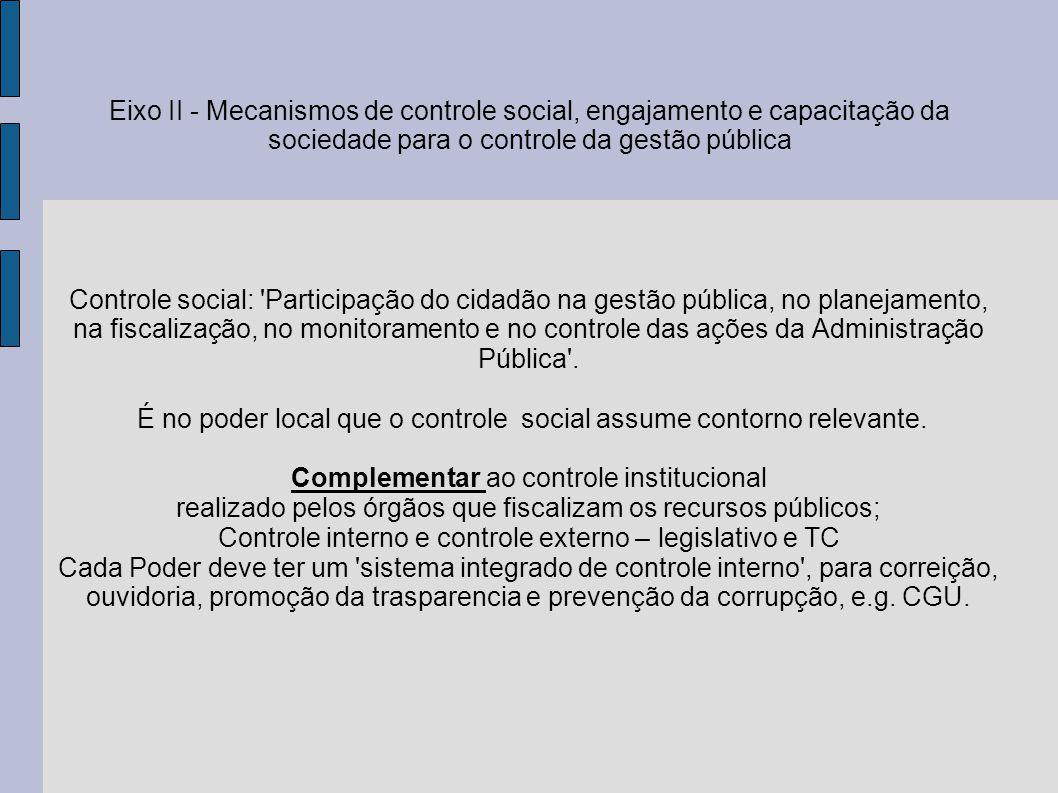 Mecanismos de controle social e participação Conselhos, conferências, mesas de diálogo, fóruns de debate, audiências públicas, ouvidorias, orçamento participativo, liberdade de associação, leis de iniciativa popular; comunicação social.