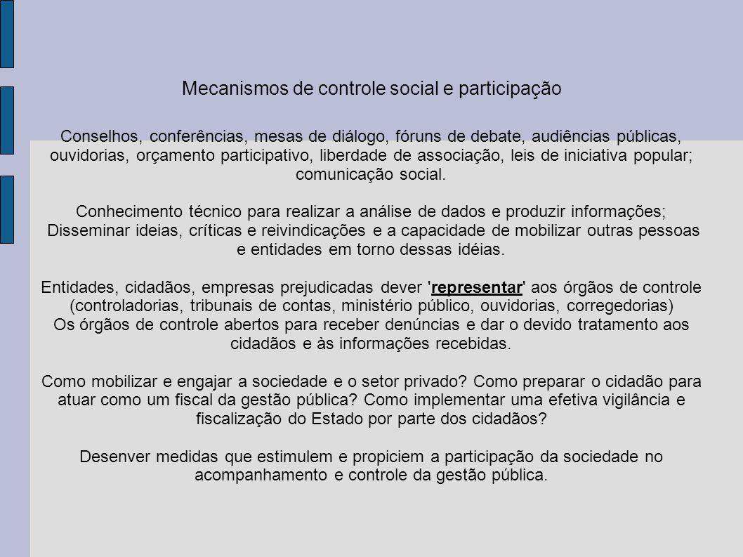 Mecanismos de controle social e participação Conselhos, conferências, mesas de diálogo, fóruns de debate, audiências públicas, ouvidorias, orçamento p