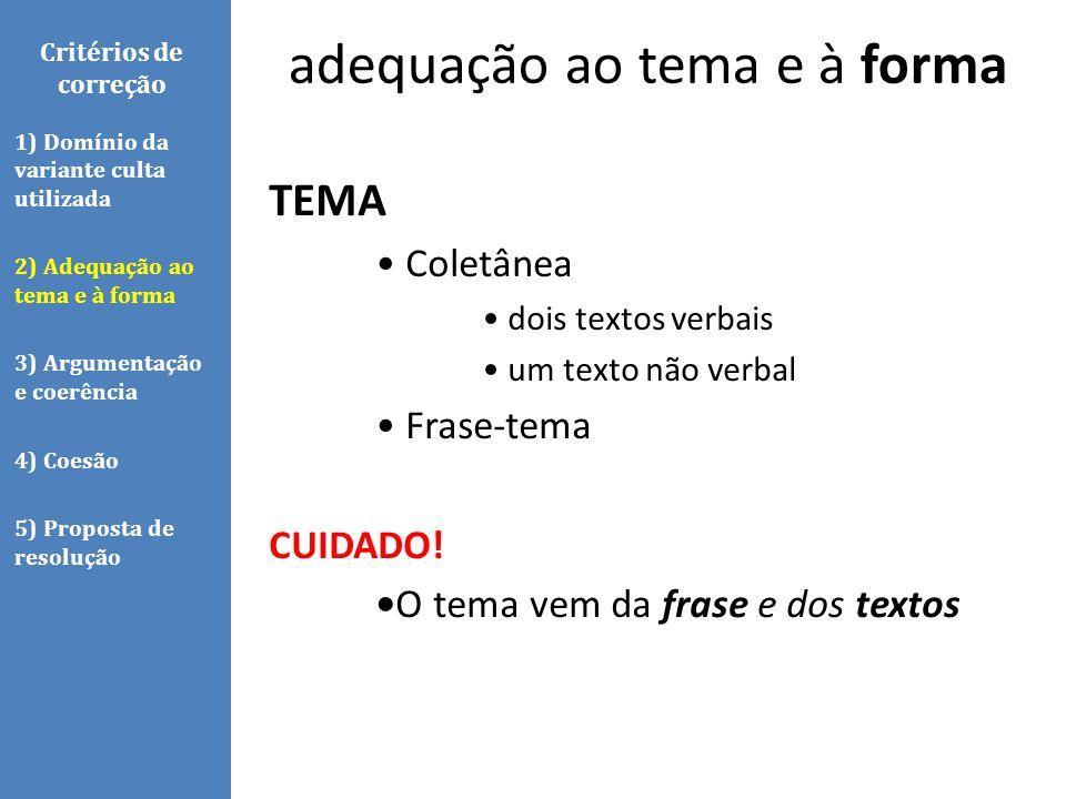 Critérios de correção TEMA Coletânea dois textos verbais um texto não verbal Frase-tema CUIDADO! O tema vem da frase e dos textos 1) Domínio da varian