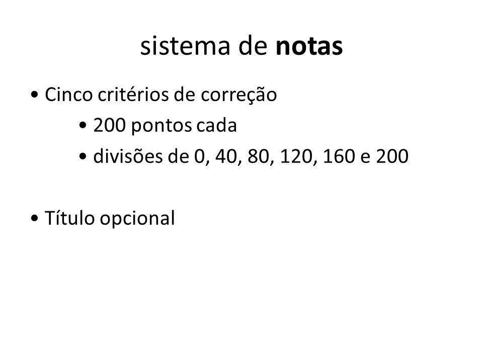 sistema de notas Cinco critérios de correção 200 pontos cada divisões de 0, 40, 80, 120, 160 e 200 Título opcional