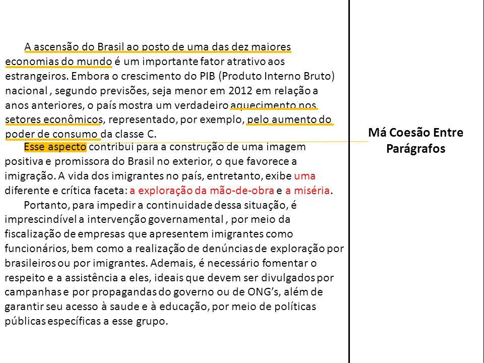 Esse aspecto contribui para a construção de uma imagem positiva e promissora do Brasil no exterior, o que favorece a imigração. A vida dos imigrantes
