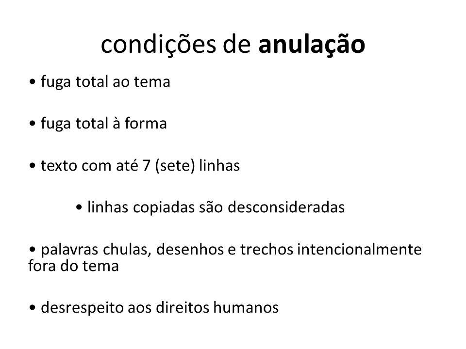 condições de anulação fuga total ao tema fuga total à forma texto com até 7 (sete) linhas linhas copiadas são desconsideradas palavras chulas, desenho