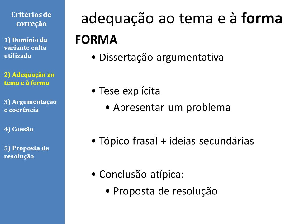 Critérios de correção FORMA Dissertação argumentativa Tese explícita Apresentar um problema Tópico frasal + ideias secundárias Conclusão atípica: Prop