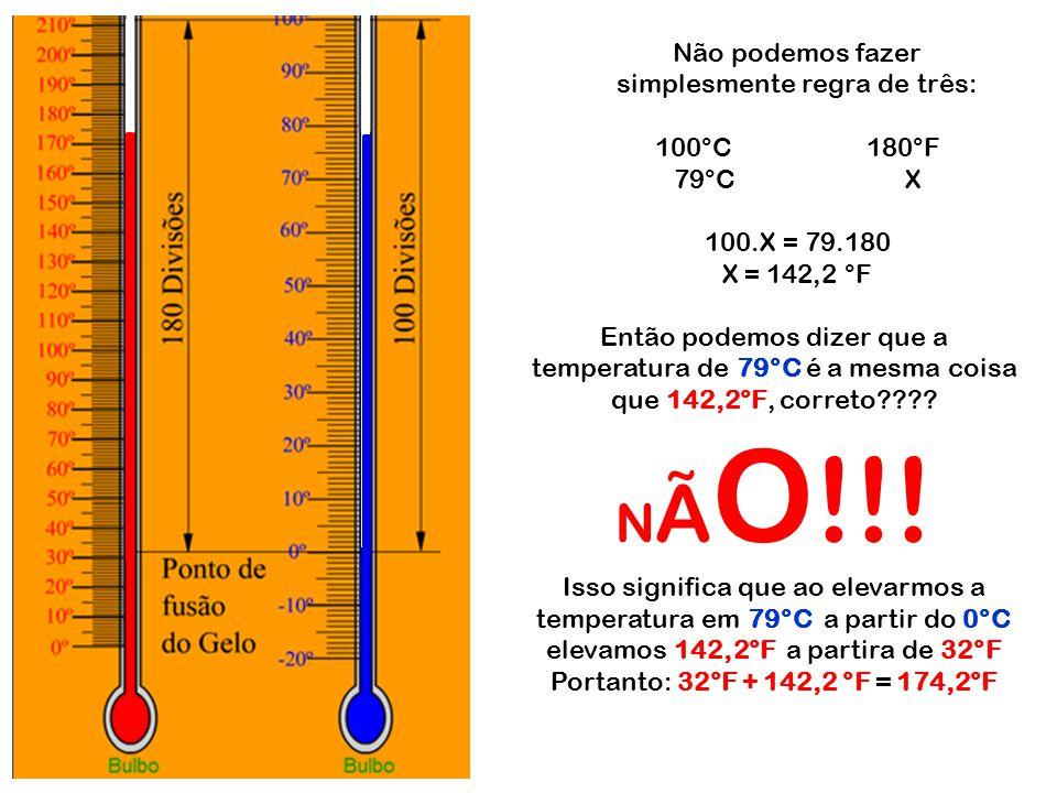 Não podemos fazer simplesmente regra de três: 100°C180°F 79°C X 100.X = 79.180 X = 142,2 °F Então podemos dizer que a temperatura de 79°C é a mesma co