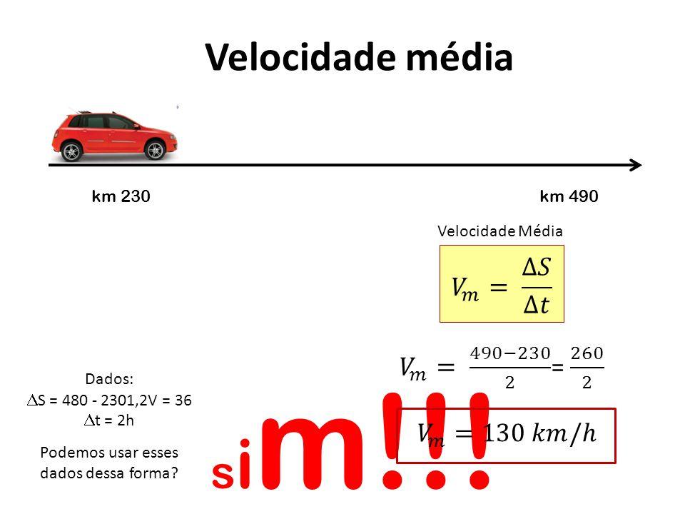 Velocidade média Dados: S = 480 - 2301,2V = 36 t = 2h Podemos usar esses dados dessa forma? s i m!!! Velocidade Média km 230km 490