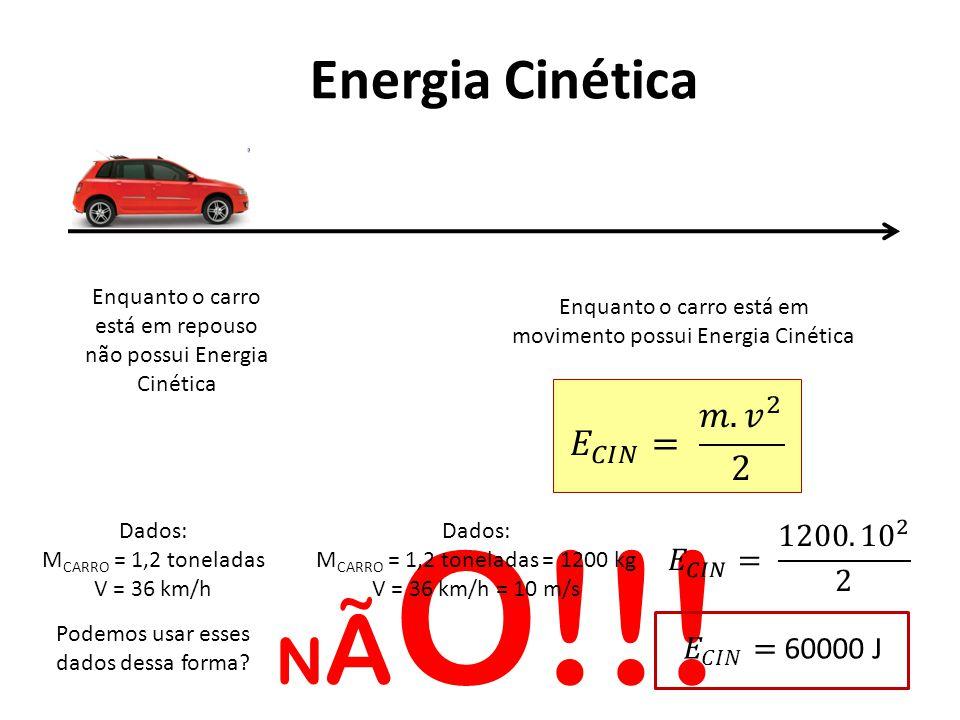 Energia Cinética Enquanto o carro está em repouso não possui Energia Cinética Enquanto o carro está em movimento possui Energia Cinética Dados: M CARRO = 1,2 toneladas V = 36 km/h Podemos usar esses dados dessa forma.