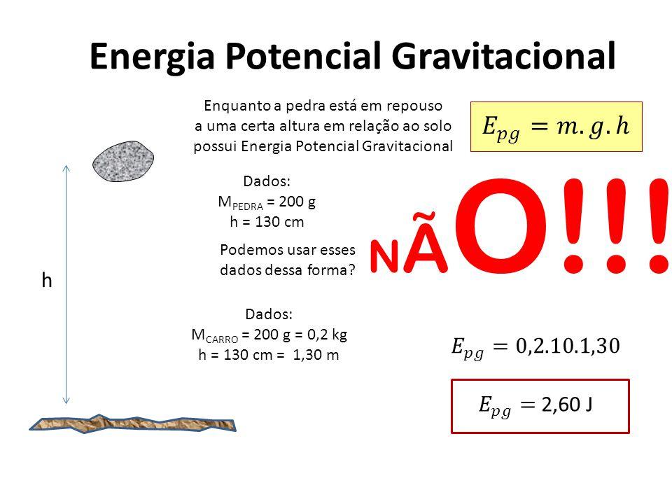 Energia Potencial Gravitacional Enquanto a pedra está em repouso a uma certa altura em relação ao solo possui Energia Potencial Gravitacional Dados: M PEDRA = 200 g h = 130 cm Podemos usar esses dados dessa forma.