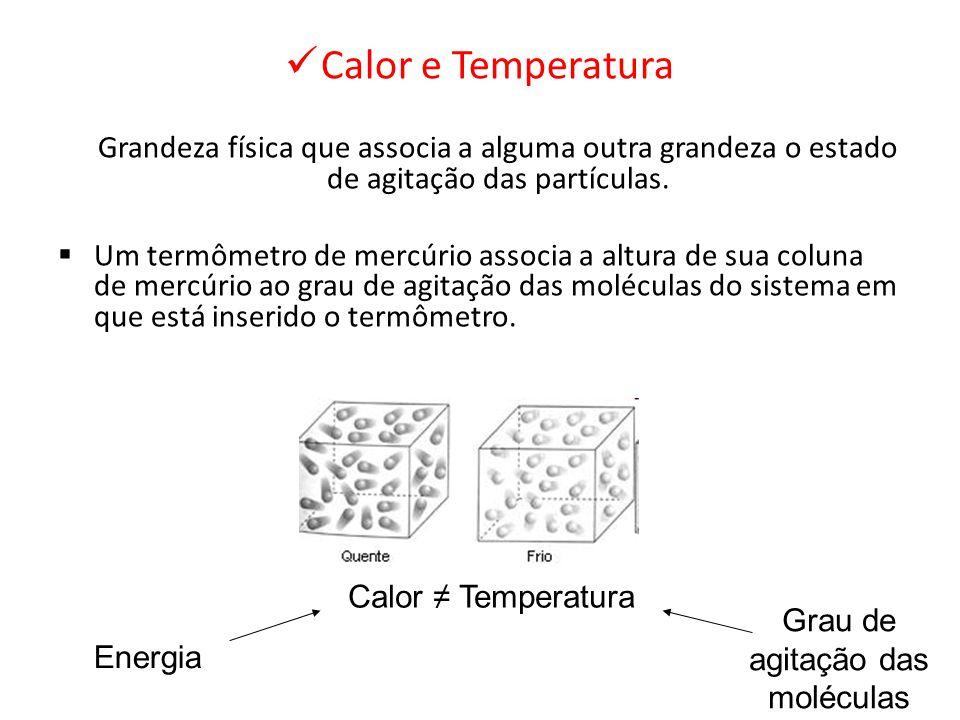 Calor e Temperatura Grandeza física que associa a alguma outra grandeza o estado de agitação das partículas. Um termômetro de mercúrio associa a altur
