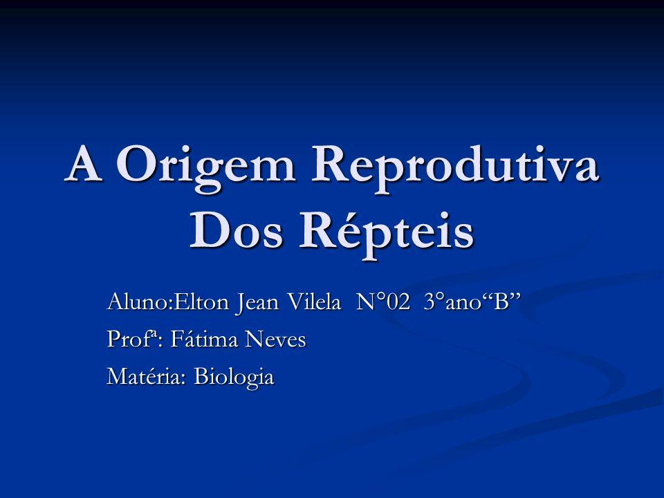 A Origem Reprodutiva Dos Répteis Aluno:Elton Jean Vilela N°02 3°anoB Profª: Fátima Neves Matéria: Biologia