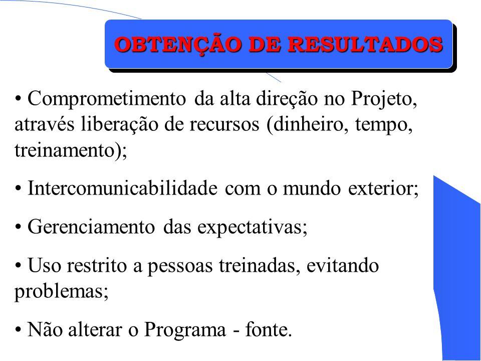 OBTENÇÃO DE RESULTADOS Comprometimento da alta direção no Projeto, através liberação de recursos (dinheiro, tempo, treinamento); Intercomunicabilidade