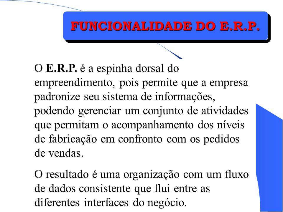 FUNCIONALIDADE DO E.R.P. O E.R.P. é a espinha dorsal do empreendimento, pois permite que a empresa padronize seu sistema de informações, podendo geren