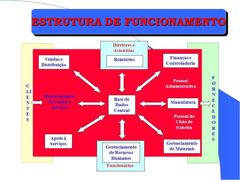 ESTRUTURA DE FUNCIONAMENTO Vendas e Distribuição Apoio à Serviços Gerenciamento de Materiais Manufatura Finanças e Controladoria Base de Dados Central
