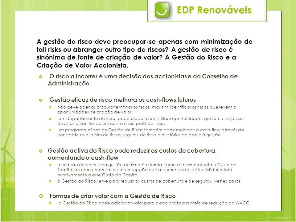 EDP Renováveis A gestão do risco deve preocupar-se apenas com minimização de tail risks ou abranger outro tipo de riscos.