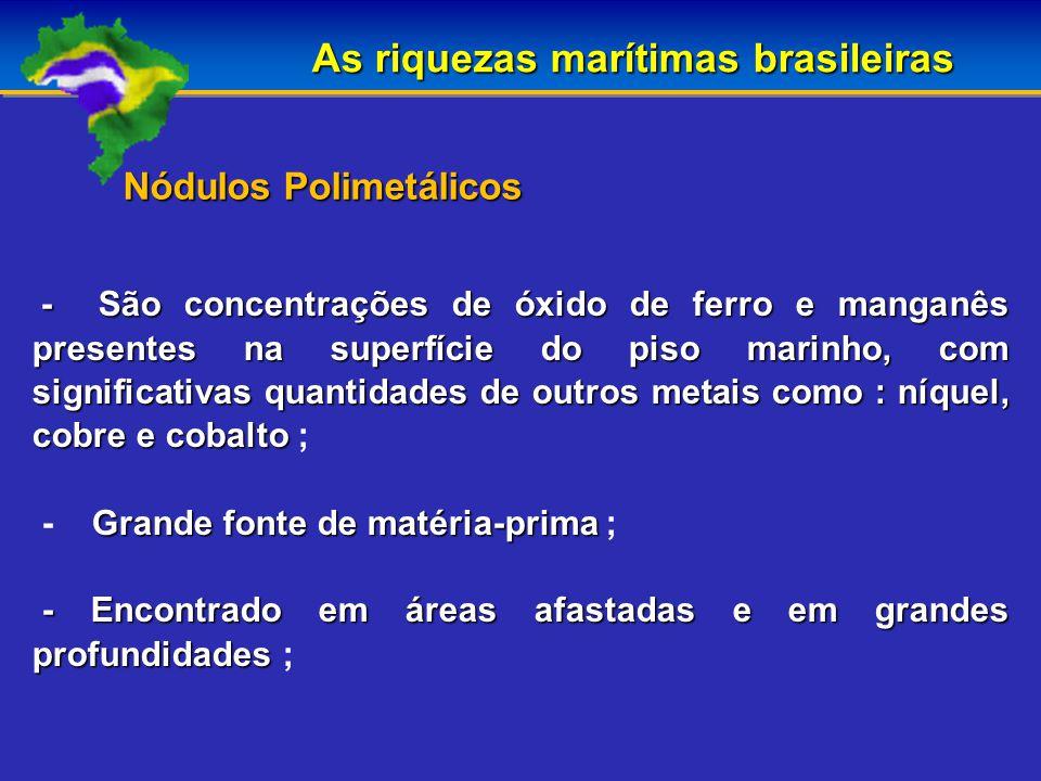 As riquezas marítimas brasileiras - São concentrações de óxido de ferro e manganês presentes na superfície do piso marinho, com significativas quantidades de outros metais como : níquel, cobre e cobalto - São concentrações de óxido de ferro e manganês presentes na superfície do piso marinho, com significativas quantidades de outros metais como : níquel, cobre e cobalto ; Grande fonte de matéria-prima - Grande fonte de matéria-prima ; - Encontrado em áreas afastadas e em grandes profundidades - Encontrado em áreas afastadas e em grandes profundidades ; Nódulos Polimetálicos