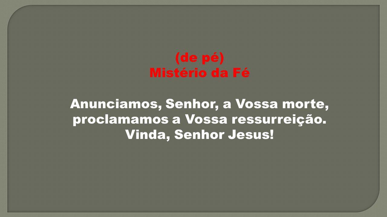 (de pé) Mistério da Fé Anunciamos, Senhor, a Vossa morte, proclamamos a Vossa ressurreição. Vinda, Senhor Jesus!