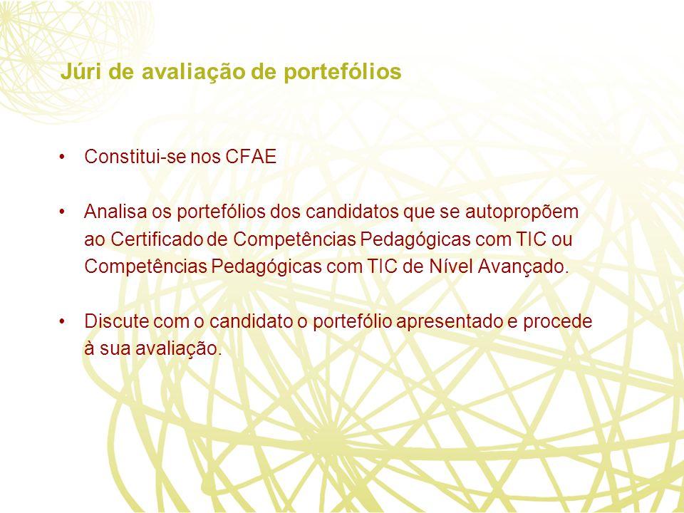Júri de avaliação de portefólios Constitui-se nos CFAE Analisa os portefólios dos candidatos que se autopropõem ao Certificado de Competências Pedagógicas com TIC ou Competências Pedagógicas com TIC de Nível Avançado.