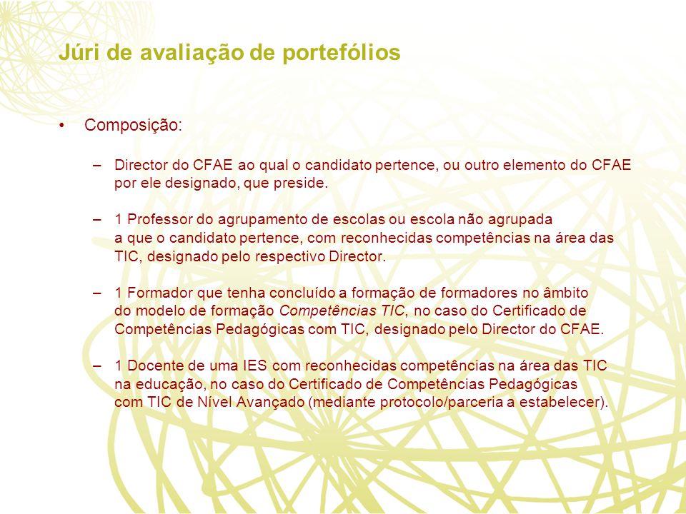 Júri de avaliação de portefólios Composição: –Director do CFAE ao qual o candidato pertence, ou outro elemento do CFAE por ele designado, que preside.