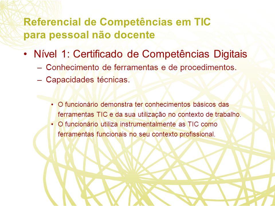 Referencial de Competências em TIC para pessoal não docente Nível 1: Certificado de Competências Digitais –Conhecimento de ferramentas e de procedimentos.