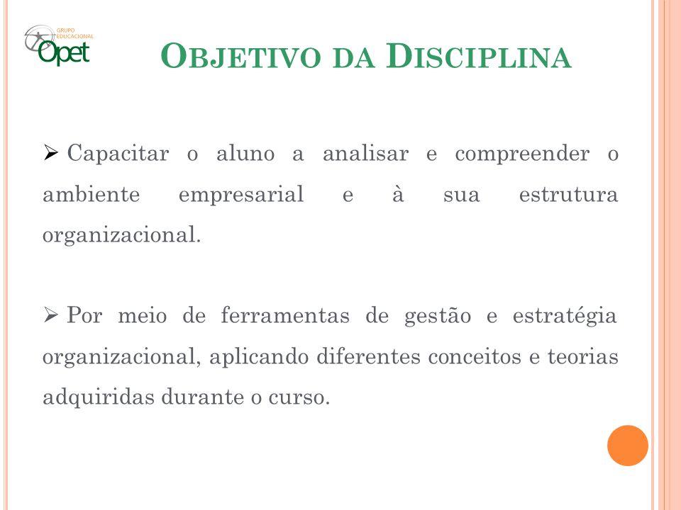 O BJETIVO DA D ISCIPLINA Capacitar o aluno a analisar e compreender o ambiente empresarial e à sua estrutura organizacional. Por meio de ferramentas d
