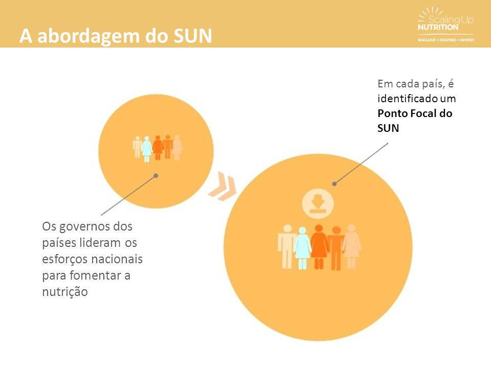 A abordagem do SUN Os governos dos países lideram os esforços nacionais para fomentar a nutrição Em cada país, é identificado um Ponto Focal do SUN