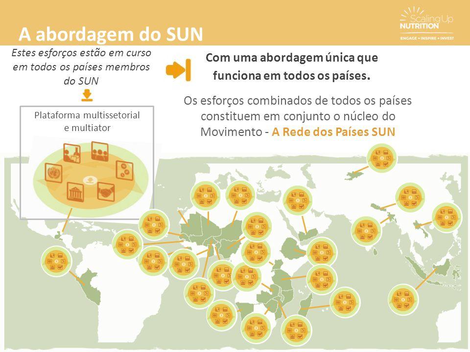 A abordagem do SUN Com uma abordagem única que funciona em todos os países. Estes esforços estão em curso em todos os países membros do SUN Plataforma