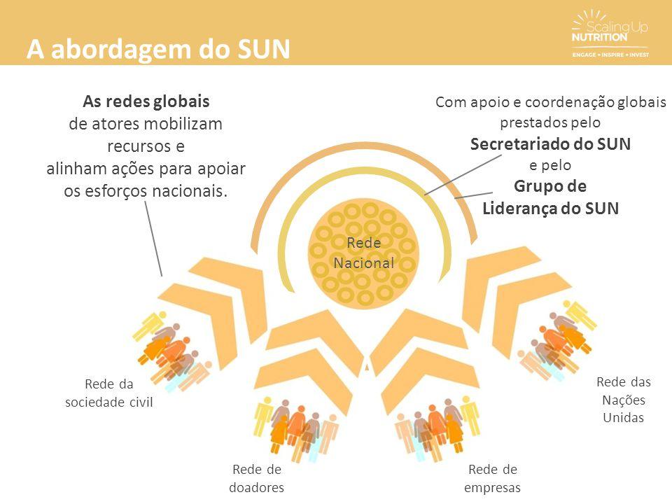 Com apoio e coordenação globais prestados pelo Secretariado do SUN e pelo Grupo de Liderança do SUN Rede Nacional Rede de doadores Rede da sociedade c