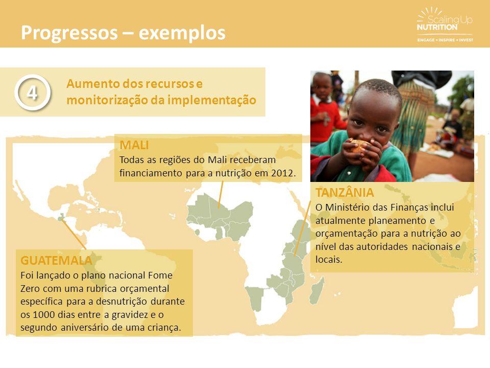 Progressos – exemplos Aumento dos recursos e monitorização da implementação 4 4 GUATEMALA Foi lançado o plano nacional Fome Zero com uma rubrica orçam