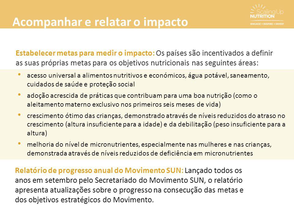 Acompanhar e relatar o impacto Estabelecer metas para medir o impacto: Os países são incentivados a definir as suas próprias metas para os objetivos n