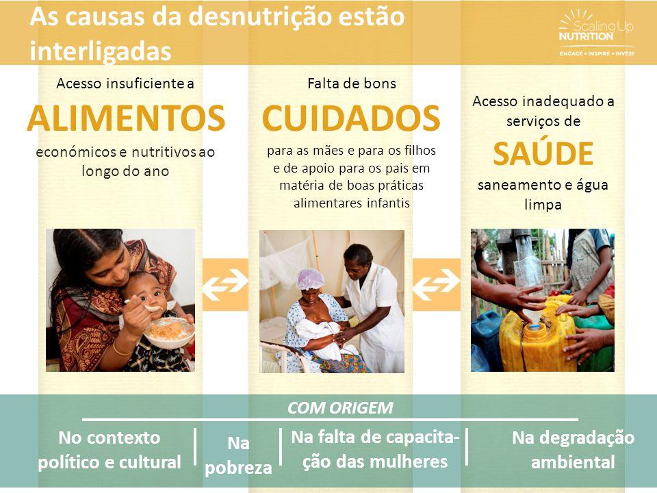 COM ORIGEM Na pobreza Na falta de capacita- ção das mulheres No contexto político e cultural Acesso insuficiente a ALIMENTOS económicos e nutritivos a