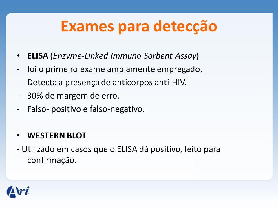 Exames para detecção ELISA (Enzyme-Linked Immuno Sorbent Assay) -foi o primeiro exame amplamente empregado. -Detecta a presença de anticorpos anti-HIV