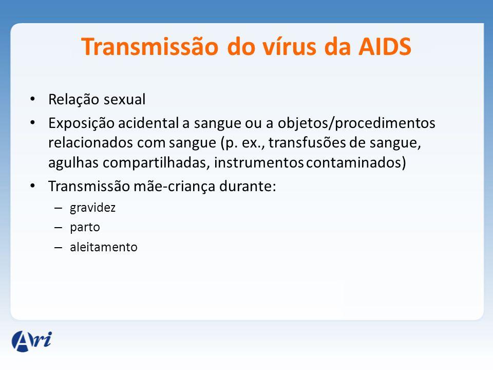 Transmissão do vírus da AIDS Relação sexual Exposição acidental a sangue ou a objetos/procedimentos relacionados com sangue (p. ex., transfusões de sa