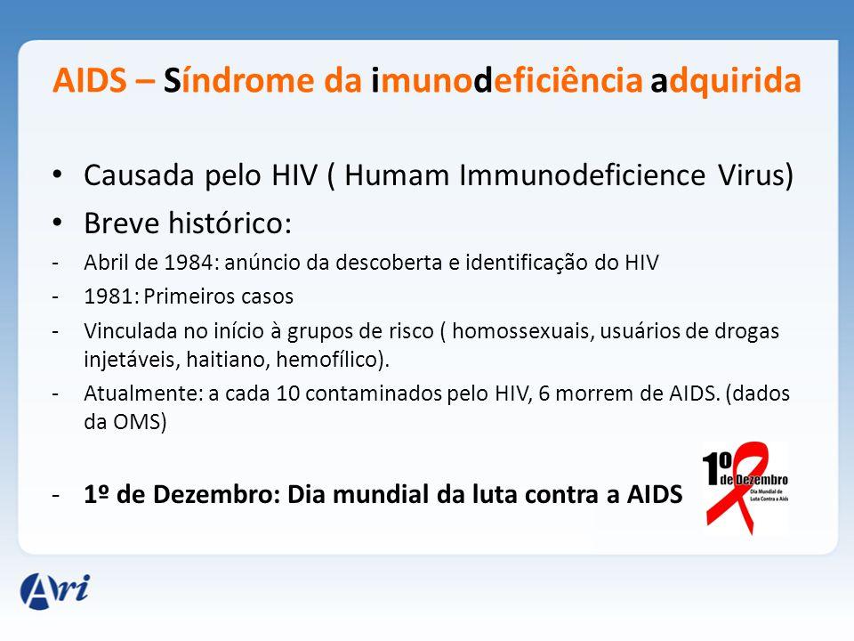 AIDS – Síndrome da imunodeficiência adquirida Causada pelo HIV ( Humam Immunodeficience Virus) Breve histórico: -Abril de 1984: anúncio da descoberta