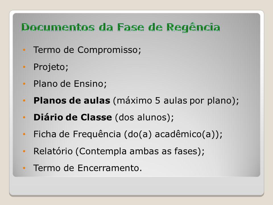 Termo de Compromisso; Projeto; Plano de Ensino; Planos de aulas (máximo 5 aulas por plano); Diário de Classe (dos alunos); Ficha de Frequência (do(a) acadêmico(a)); Relatório (Contempla ambas as fases); Termo de Encerramento.