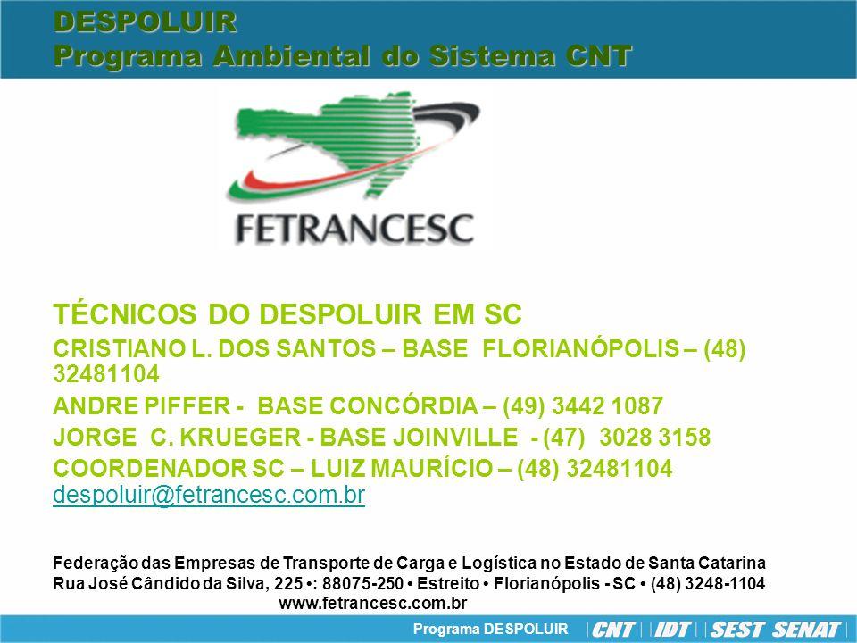Programa DESPOLUIR DESPOLUIR Programa Ambiental do Sistema CNT TÉCNICOS DO DESPOLUIR EM SC CRISTIANO L. DOS SANTOS – BASE FLORIANÓPOLIS – (48) 3248110