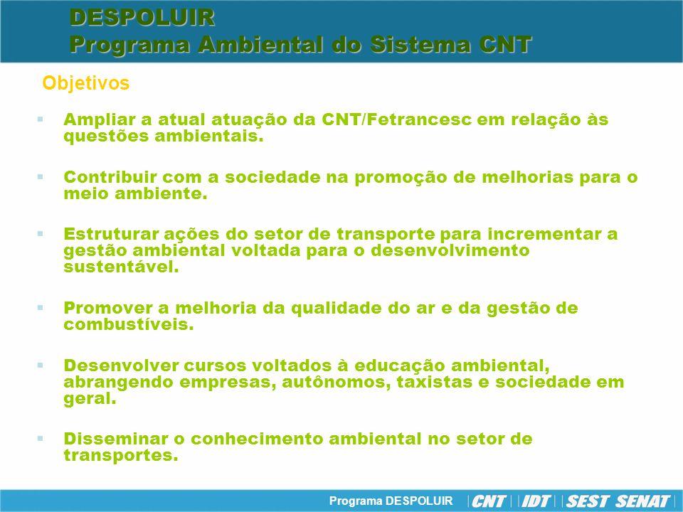 Programa DESPOLUIR Ampliar a atual atuação da CNT/Fetrancesc em relação às questões ambientais. Contribuir com a sociedade na promoção de melhorias pa