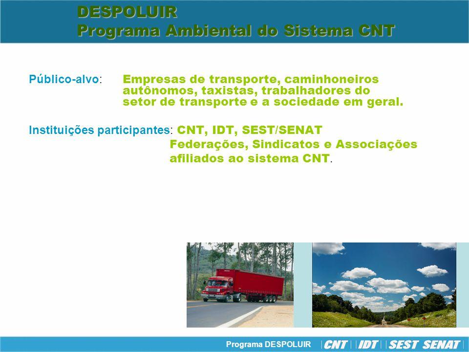 Programa DESPOLUIR Público-alvo: Empresas de transporte, caminhoneiros autônomos, taxistas, trabalhadores do setor de transporte e a sociedade em gera