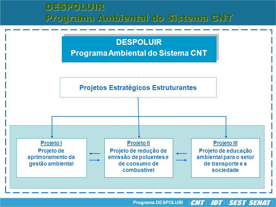Programa DESPOLUIR Projeto I Projeto de aprimoramento da gestão ambiental Projeto II Projeto de redução de emissão de poluentes e de consumo de combus
