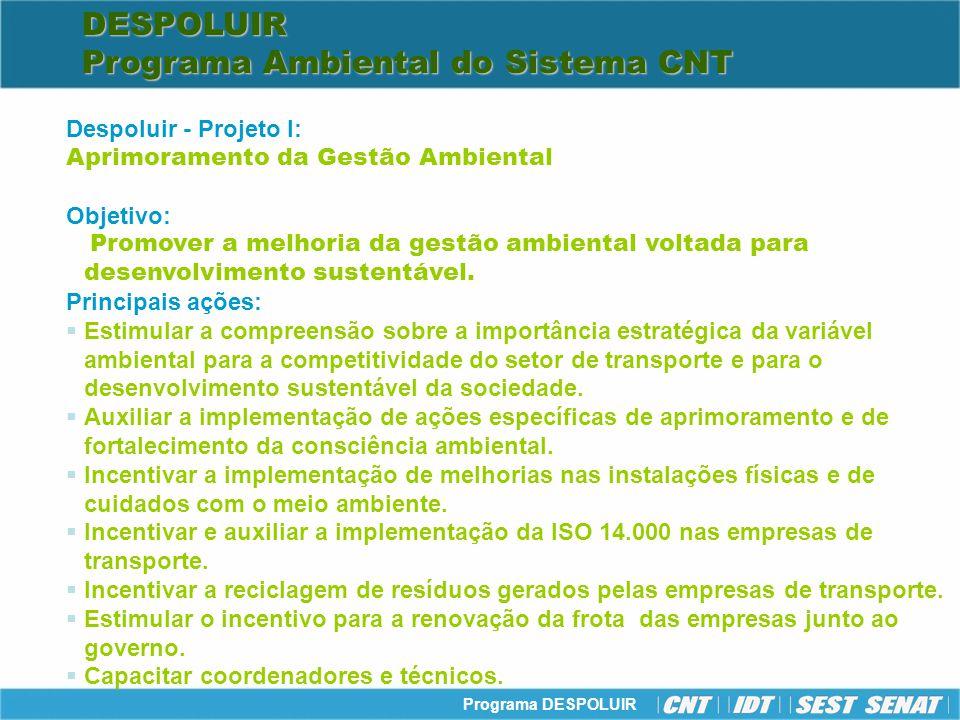 Programa DESPOLUIR Despoluir - Projeto I: Aprimoramento da Gestão Ambiental Objetivo: Promover a melhoria da gestão ambiental voltada para desenvolvim