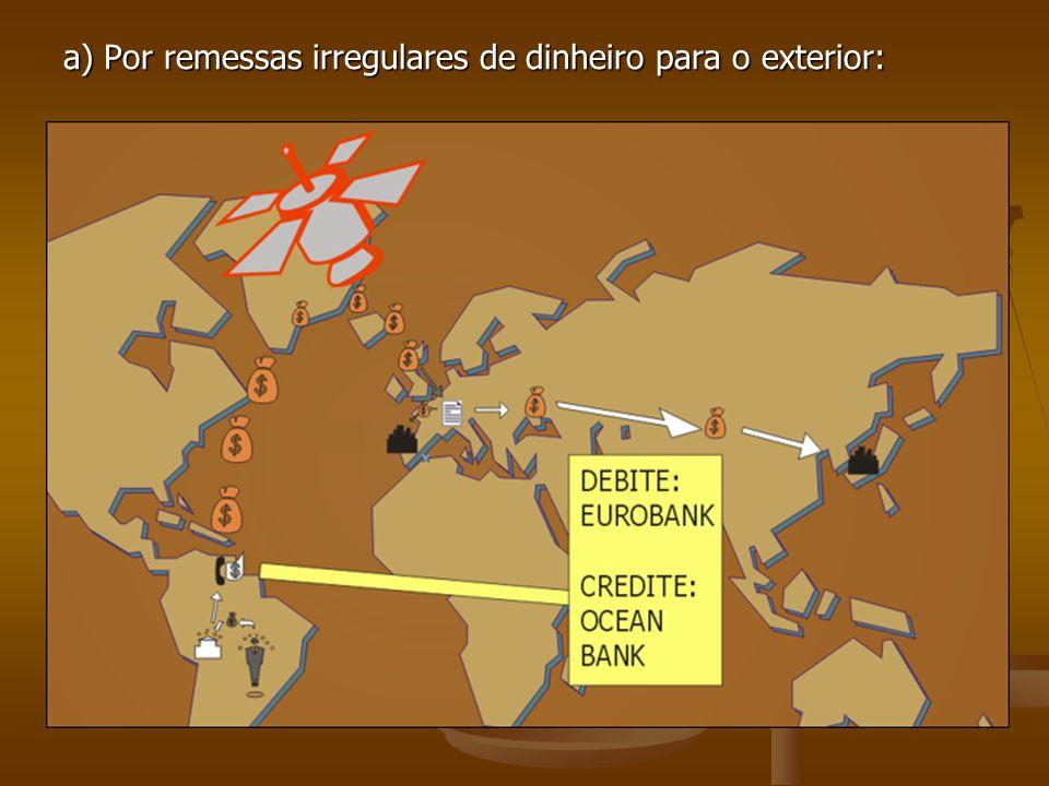 a) Por remessas irregulares de dinheiro para o exterior: LARANJASLARANJAS