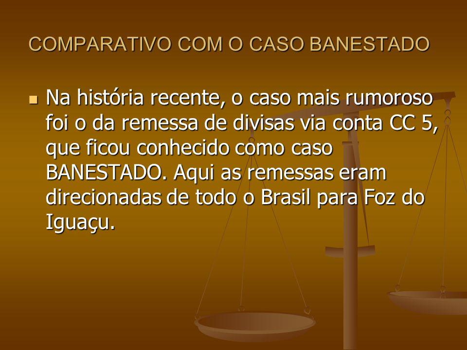 COMPARATIVO COM O CASO BANESTADO Na história recente, o caso mais rumoroso foi o da remessa de divisas via conta CC 5, que ficou conhecido como caso B