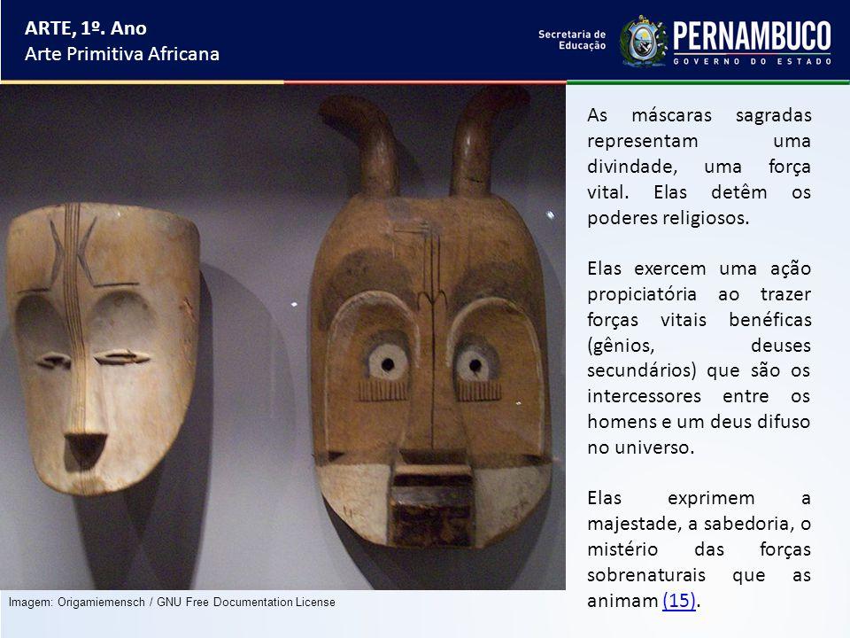 ARTE, 1º. Ano Arte Primitiva Africana As máscaras sagradas representam uma divindade, uma força vital. Elas detêm os poderes religiosos. Elas exercem