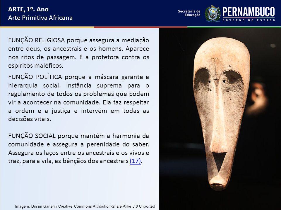 ARTE, 1º. Ano Arte Primitiva Africana FUNÇÃO POLÍTICA porque a máscara garante a hierarquia social. Instância suprema para o regulamento de todos os p